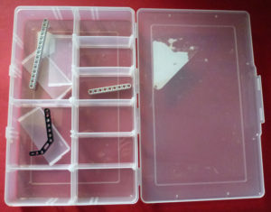 Fishing tackle box used to store LEGO EV3 components.